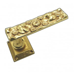 FLOWER, PAIR OF DOOR HANDLE ON SPRING ROSACE